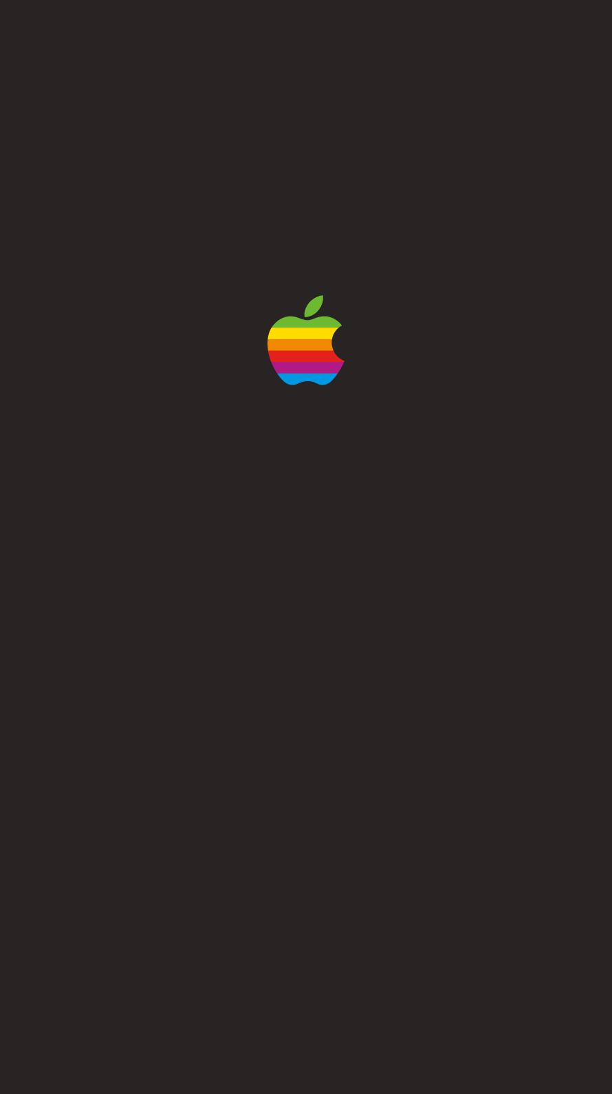 iPhone7, 6, 5用壁紙 Appleレインボーロゴ Black
