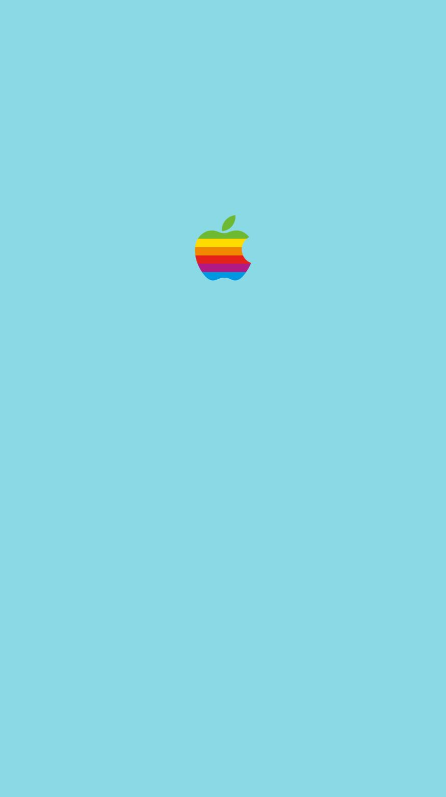 iPhone7, 6, 5用壁紙 Appleレインボーロゴ Blue