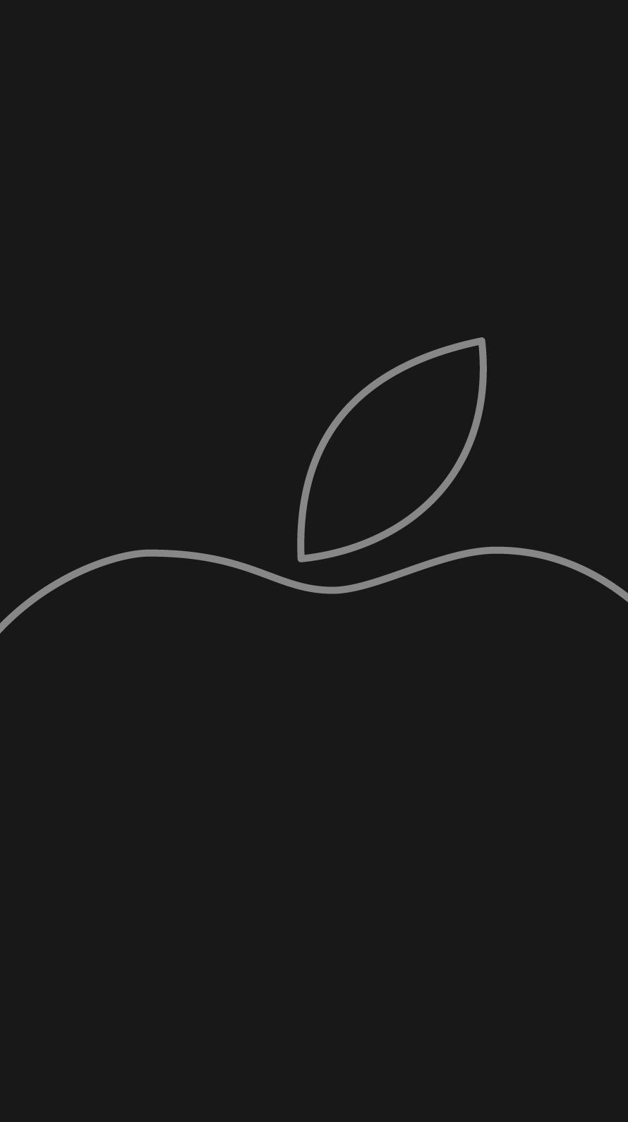 iPhone7, 6, 5用壁紙 Appleロゴ モノクロ 3